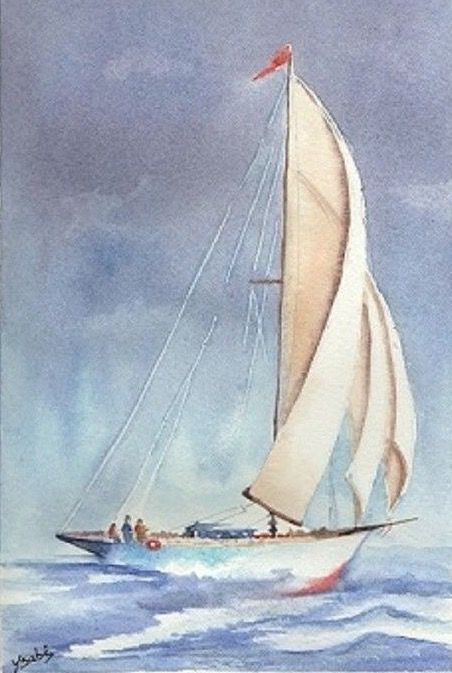 Mar E Barcos Sailboat Art Sailboat Painting Watercolor Boat
