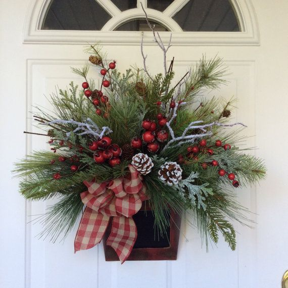 Front Door Baskets: Winter Wreath-Christmas Wreath-Winter Door Basket-Snowy