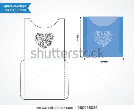 Laser Cut Pocket Envelope Template For Wedding Invitation Square