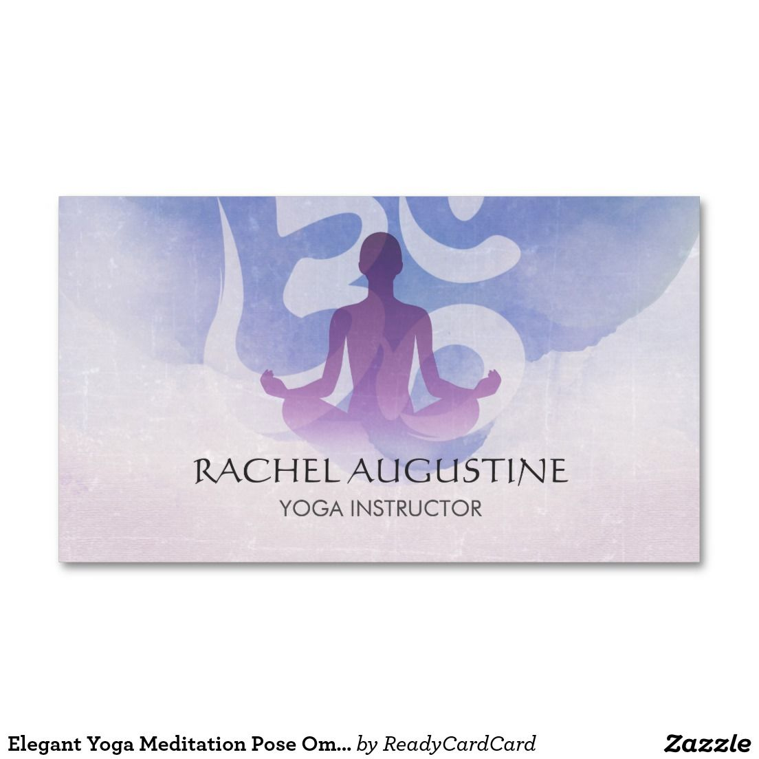Elegant Yoga Meditation Pose Om Symbol Watercolor Business Card ...