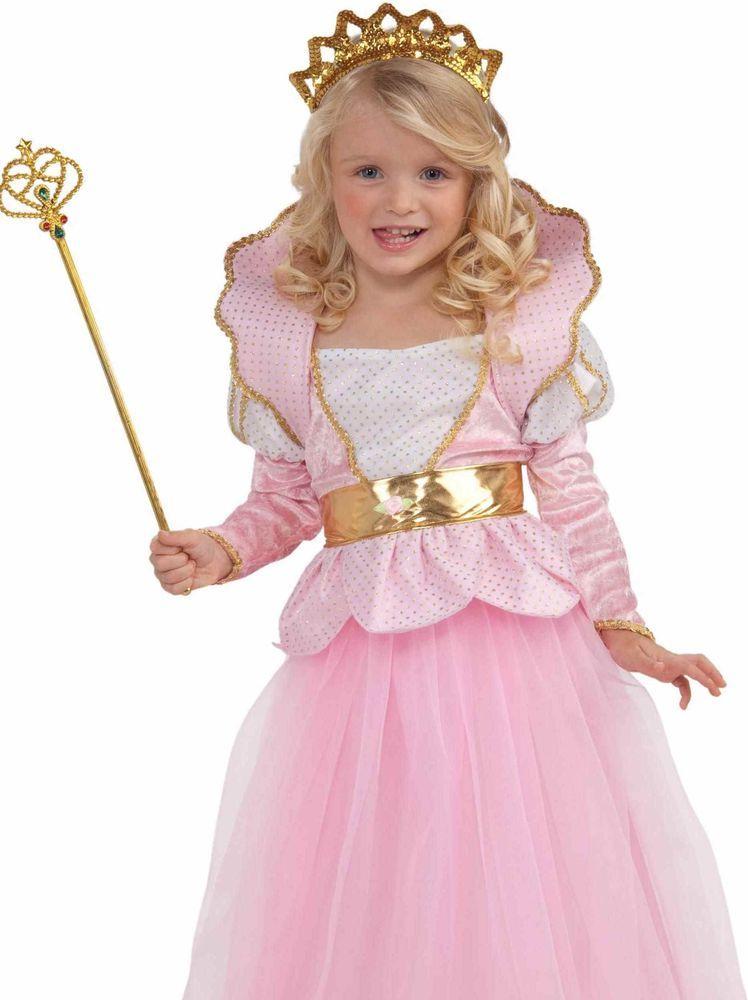 Girls Disney Pink Deluxe Sparkle Princess Queen Dress