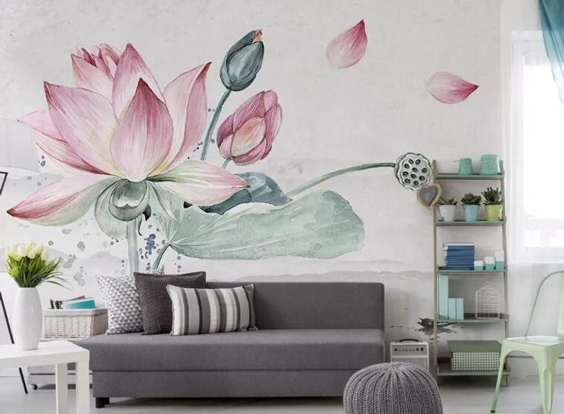 3d Lotus Pork Gn917 Wallpaper Mural Decal Mural Photo Sticker Decal Wall Self Adhesive Wall Art Design 3d Printed Removable Wallpaper Room Wall Painting Adhesive Wall Art Wall Art Designs