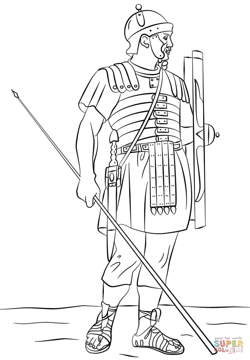 roman legionary soldier coloring page from ancient rome and roman empire category