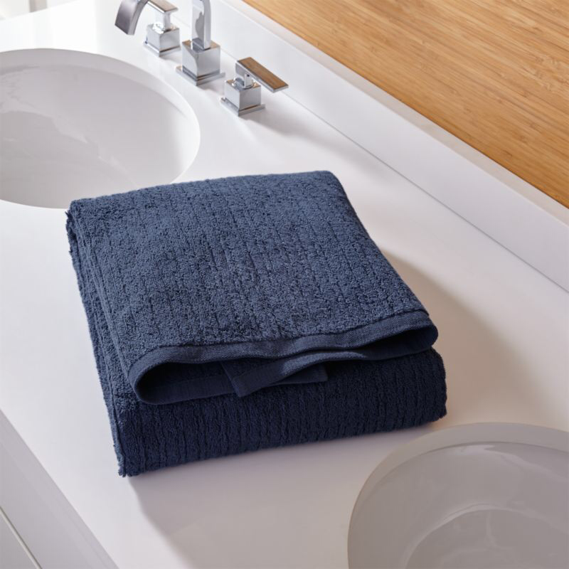 Ribbed Ink Blue Bath Towel Reviews Crate And Barrel Blue