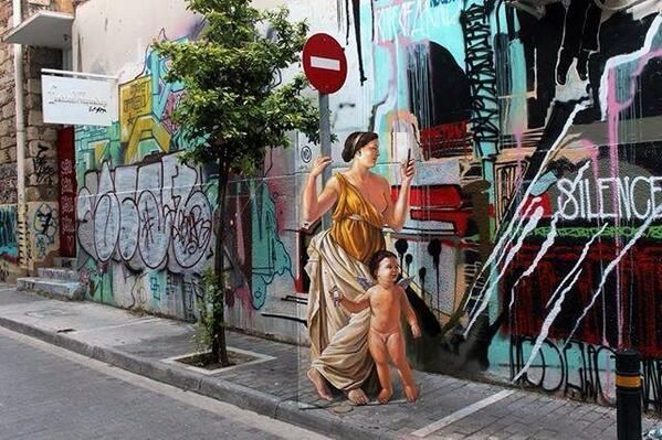 Artist WD clever Street Art illusion located in Athens