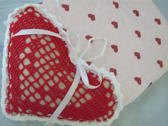 Crocheted Musical Heart Pin Cushion Red by Antiquebeginnings, $15.00