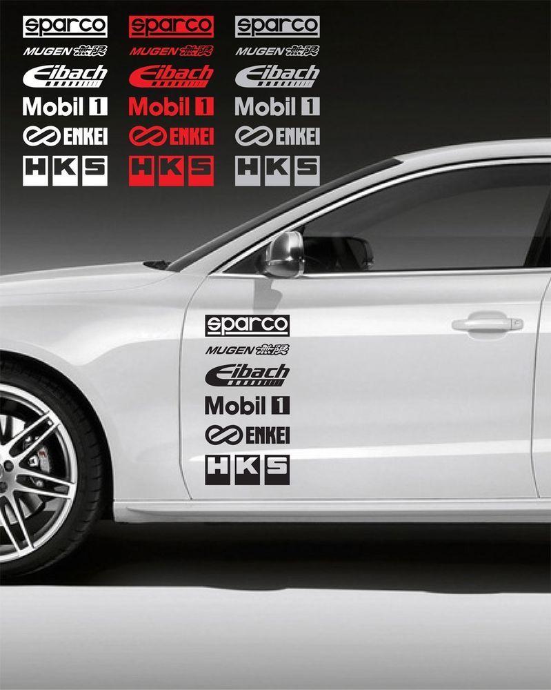 hight resolution of 12pcs racing sponsors logo graphic sticker decal honda civic bmw subaru 8 oracal