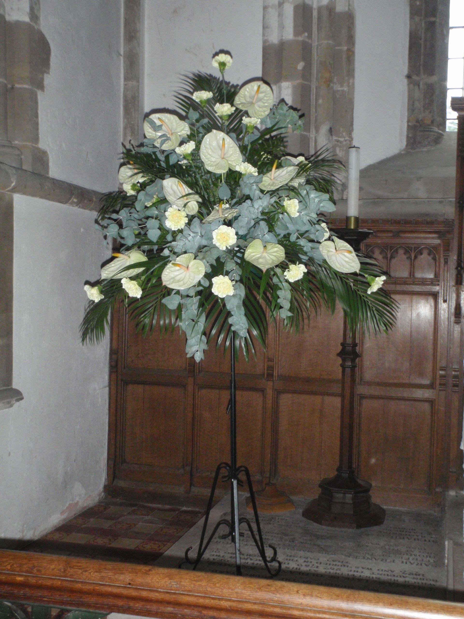 Signature Church Pedestal Arrangement Made With Anthuriums Silk Flower Arrangements Elegant Wedding Flowers Flower Arrangements