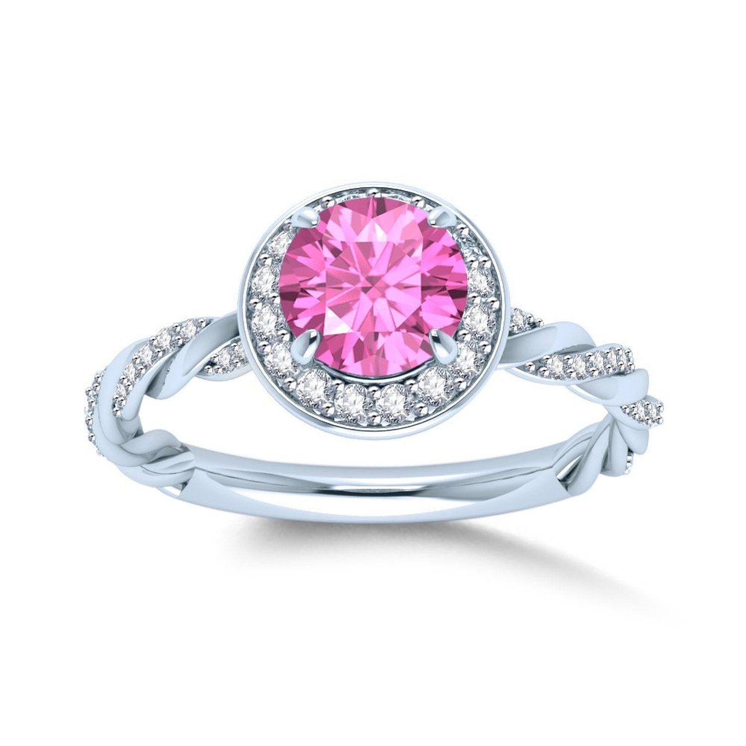 Pink Stone & Cubic Zirconia Halo Style Ring in