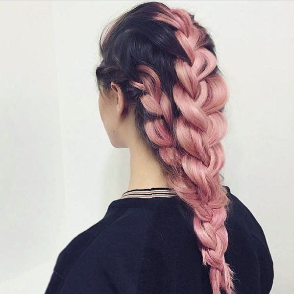 Black Hair With Pink Highlights Rose Hair Color Pinterest Pink