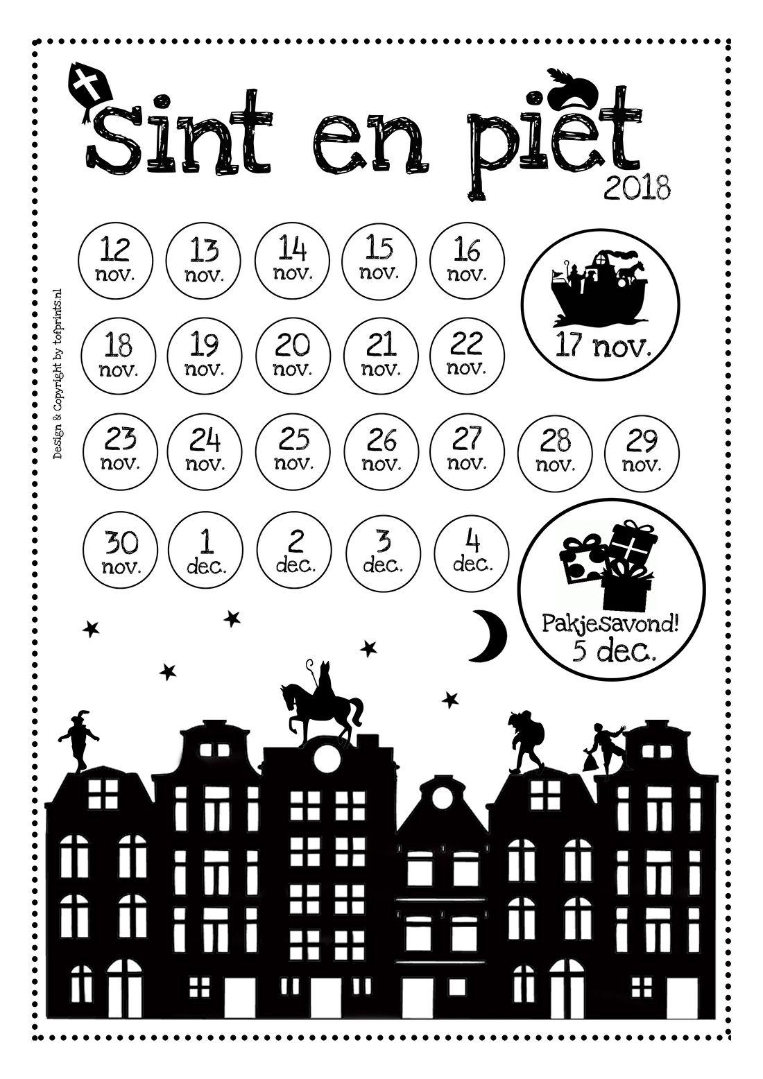 Sinterklaas Kalender Kleurplaat Aftelkalender Sinterklaas 2018 Tof Prints
