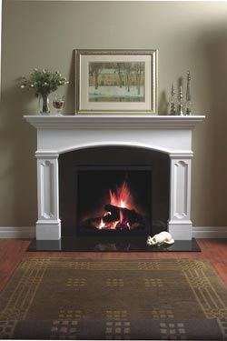 4112 Aberdeen Gypsum Plaster Fireplace Mantel I Like The Arch Over The Stone Fireplace Mantel White Fireplace Surround Stone Fireplace Surround