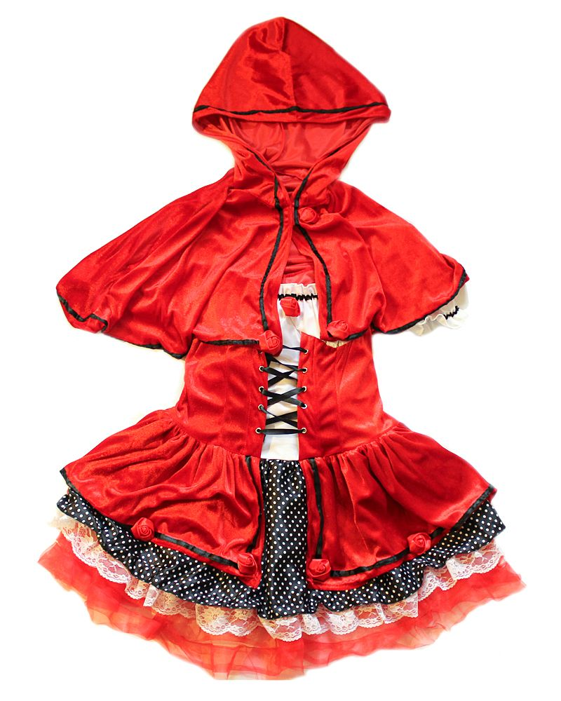 This divine miss red riding hood costume includes a layered dress