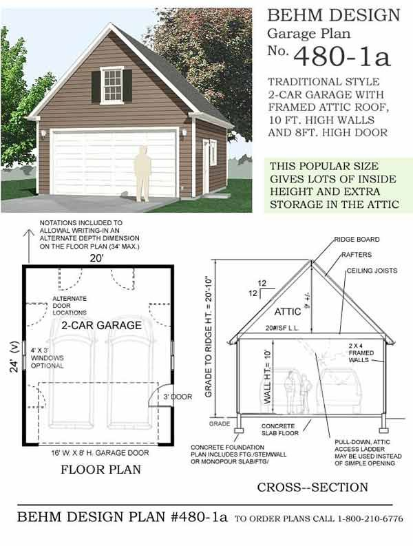 Attic 2 car steep roof garage plan with one story 480 1a for 3 bay garage cost