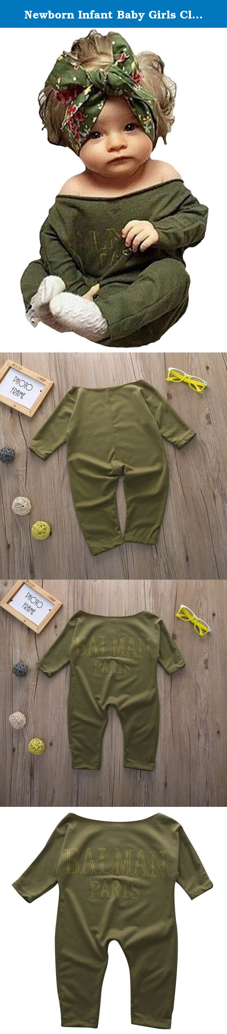 1b1d8e58e93b Newborn Infant Baby Girls Clothes Long Sleeve Off Shoulder Romper Jumpsuit  (M(6-
