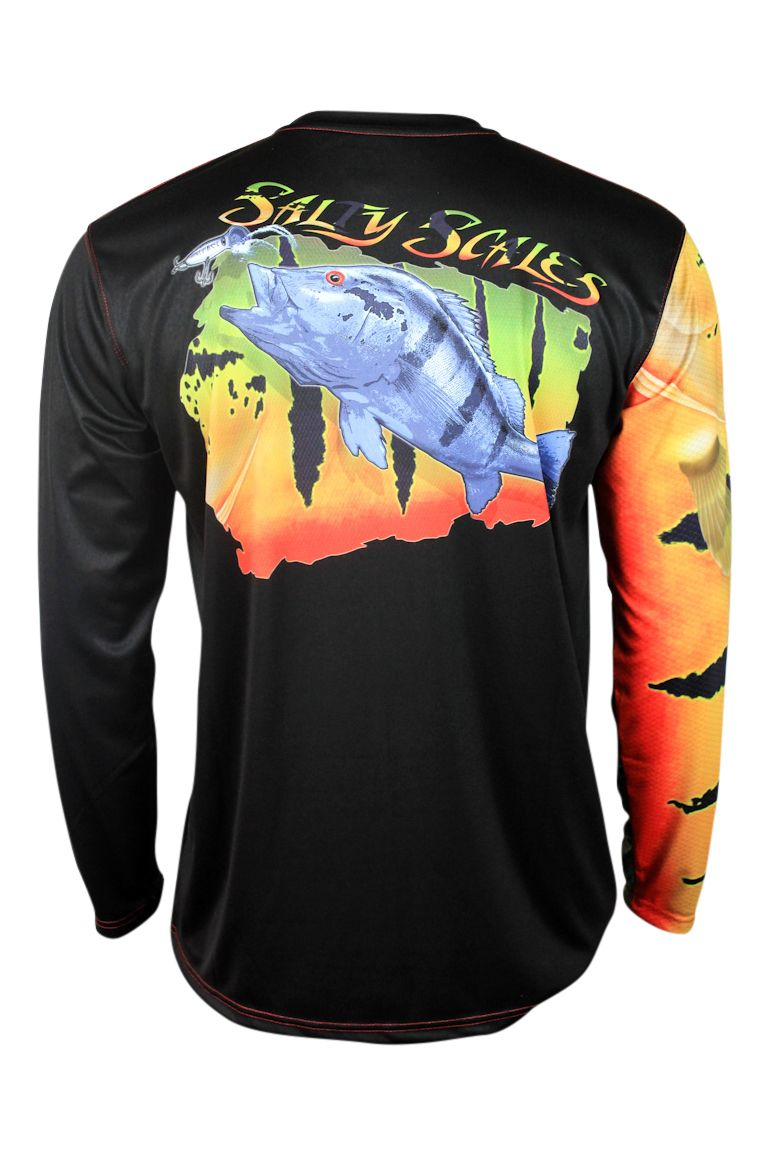 Salty scales peacock bass performance apparel made in the for Performance fishing gear shirts