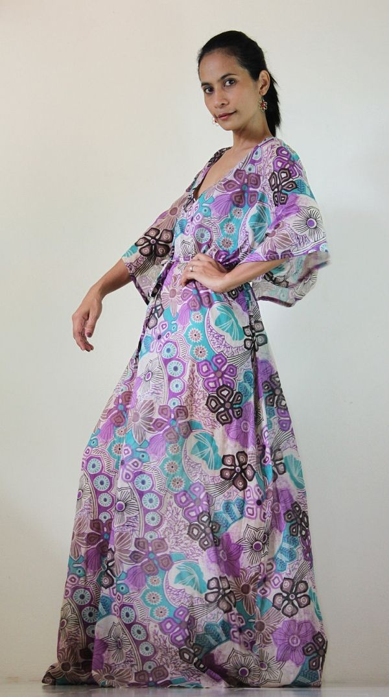 b04e4681a6ae Maxi Dress Kaftan Long Boho Gown With Lovely Flower Print : Bohemian Kaftan  Collection on Luulla by Stacie09