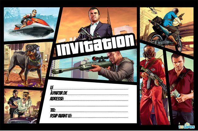 Invitation Anniversaire Grand Theft Auto 123 Cartes En