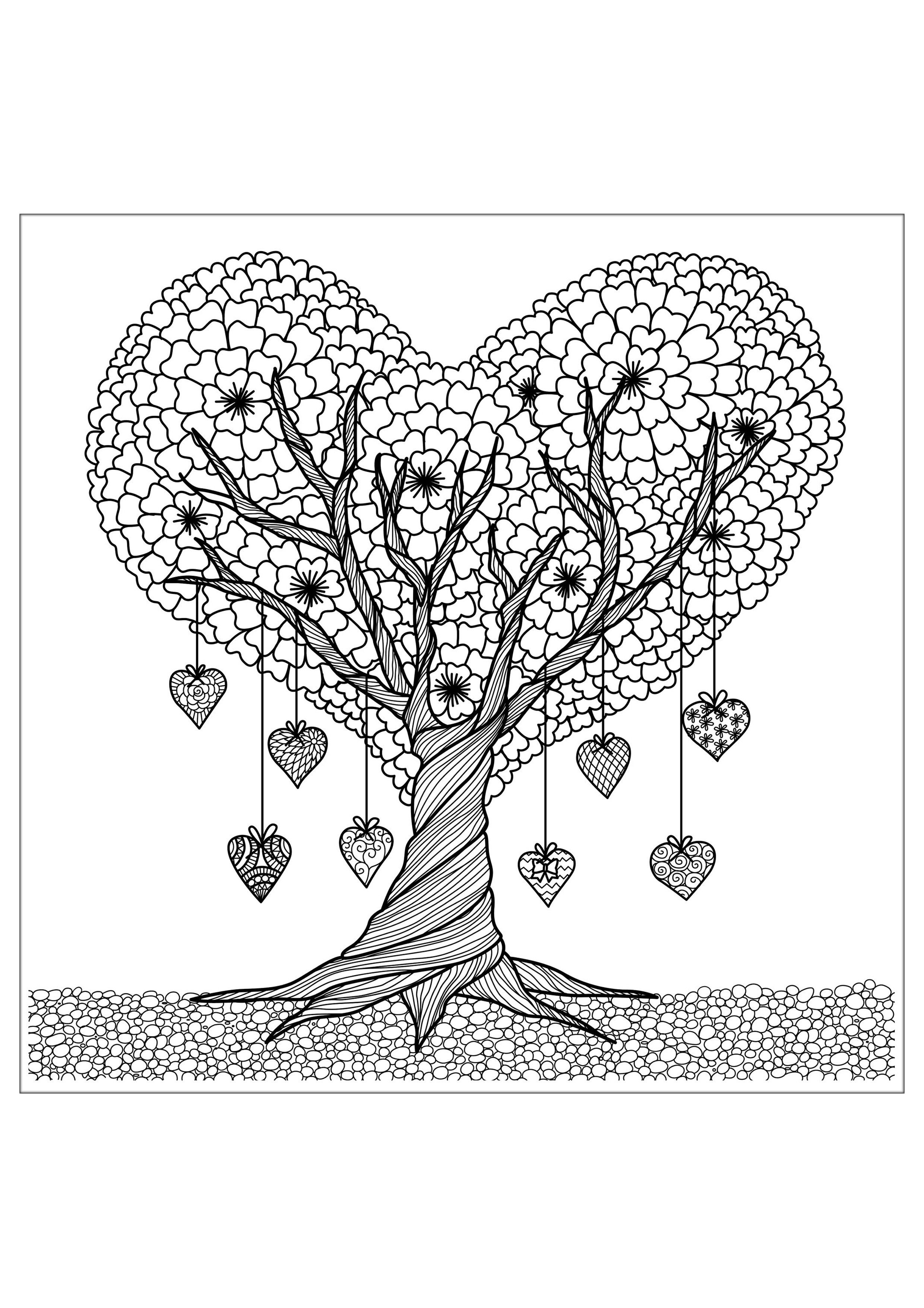 Coloring sheets of fruit trees - Lots Of Awesome Coloring Pages For Us Adults Discover Our Heart Tree From The Gallery Flowers And Vegetation Artist Bimdeedee