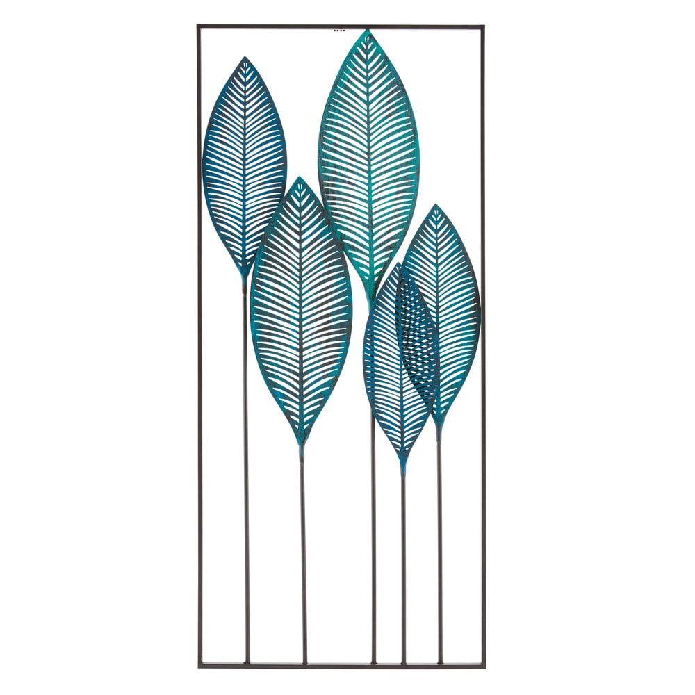 Decorazione Da Parete Foglie In Metallo Blu 60x136 Stupenda
