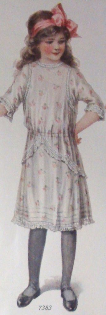GIRL'S DELICATE SPRING DRESS WITH LACETRIM  Source of today's featured fashion: Ladies Home Journal (January, 1913)