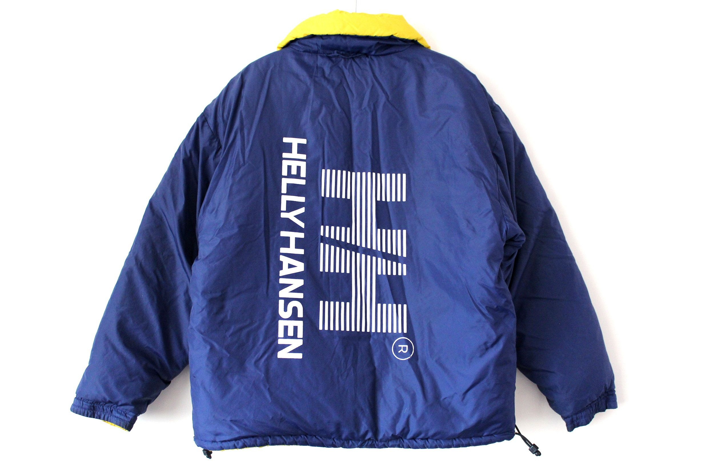 Vintage Helly Hansen Down Jacket Reversible Big Logo Blue Yellow Puffer Jacket Size L Yellow Puffer Jacket Down Jacket Jackets [ 1666 x 2500 Pixel ]