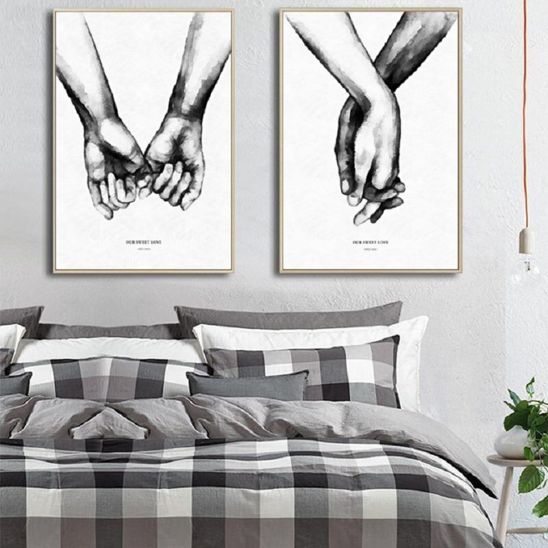 Black White Abstract Woman Couple Kiss Poster Nordic Wall Art Canvas Print
