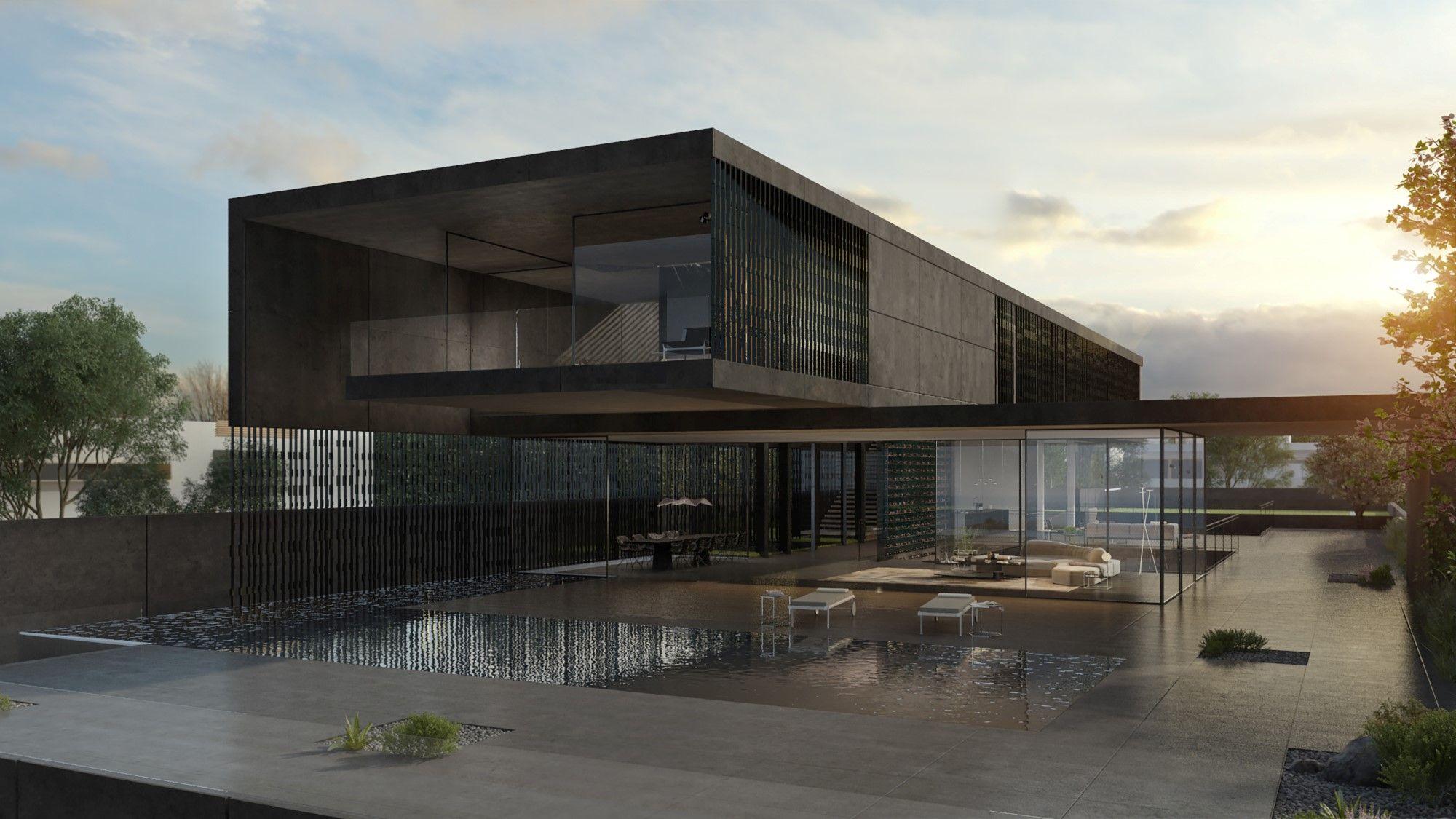 Black Concrete House Pitsou Kedem House Architecture Design Concrete House Home Building Design