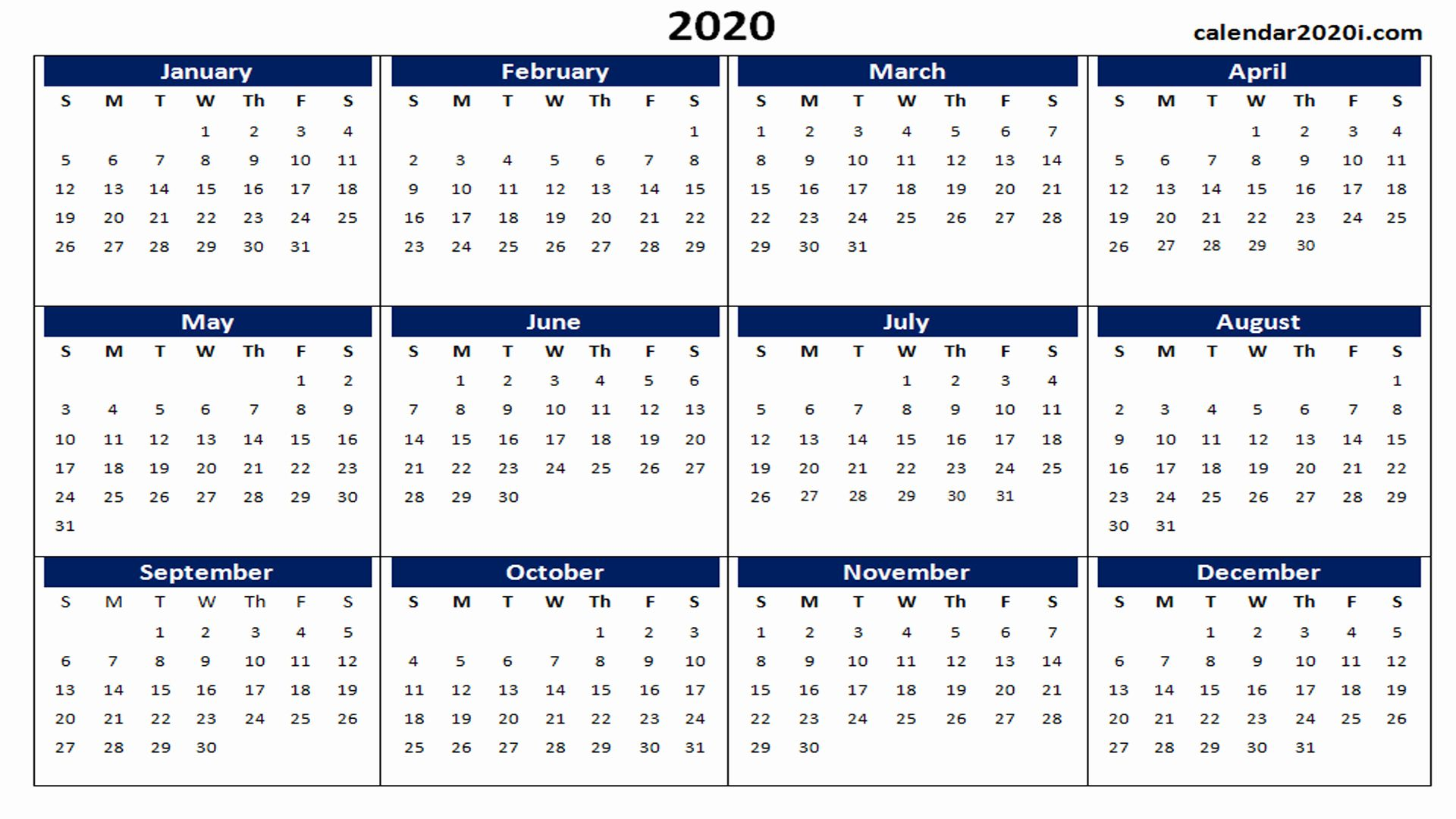 12 Month Calendar Template Word In 2020 With Images Printable