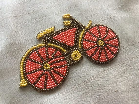 Vintage cycle beaded embroidery applique indian handmade cutwork