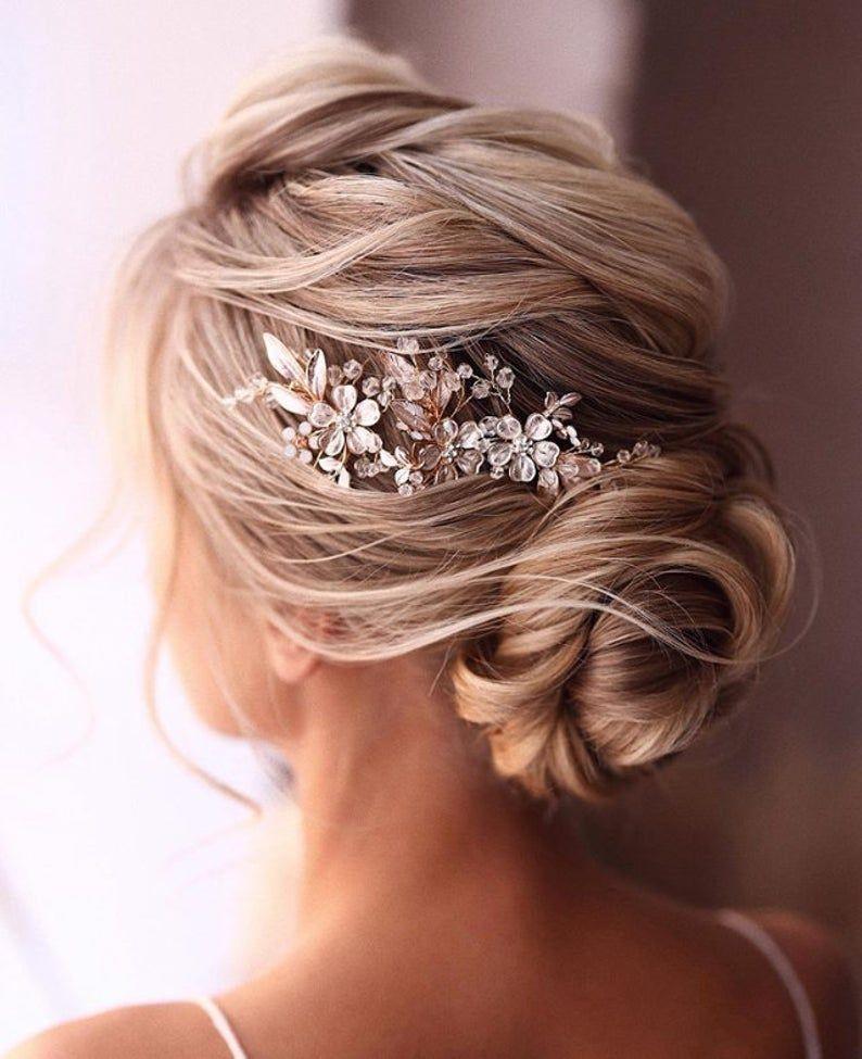 Bridal Hair Comb Rose Gold Wedding Hair Comb Crystal Hair Comb Wedding Hair Comb Bridal Headpiece Bridal Hair Piece Gold Rose Gold In 2020 Rose Gold Hair Accessories Bridal Hair Headpiece