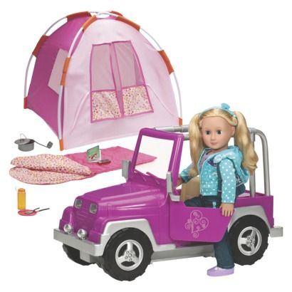 """Our Generation """"Off the Beaten Path"""" Bundle Includes 18"""" Doll, Jeep, Tent, & Camping Accessories.Opens in a new window"""