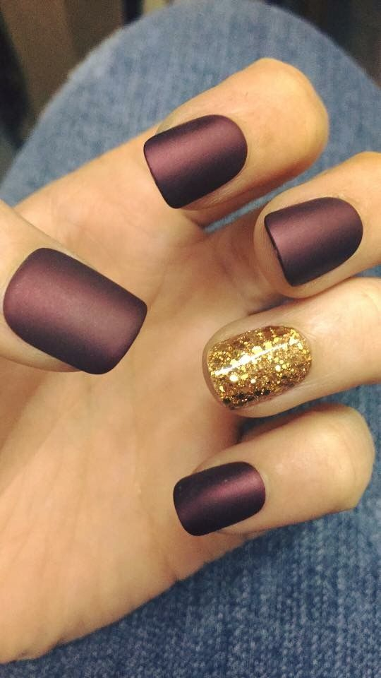Matte burgundy and gold glitter accent nail | Polish and Shine ...