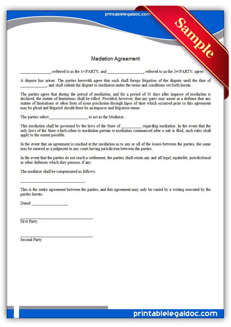 Free Printable Mediation Agreement Legal Forms Free Legal