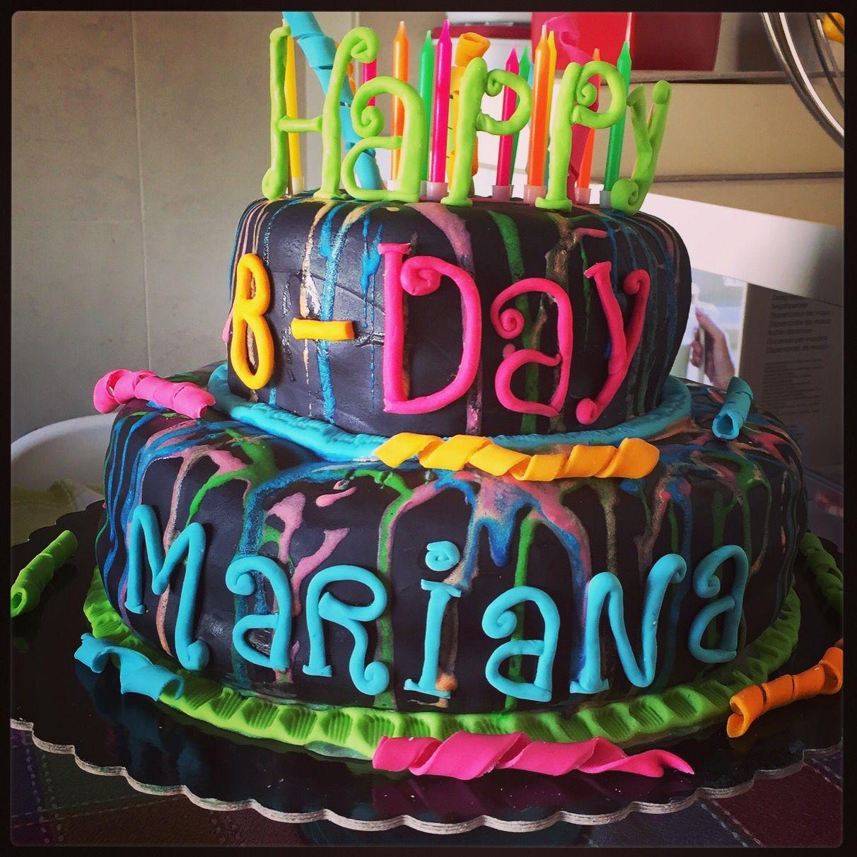 Neon Glow Birthday cake Party Inspirations Pinterest Neon glow