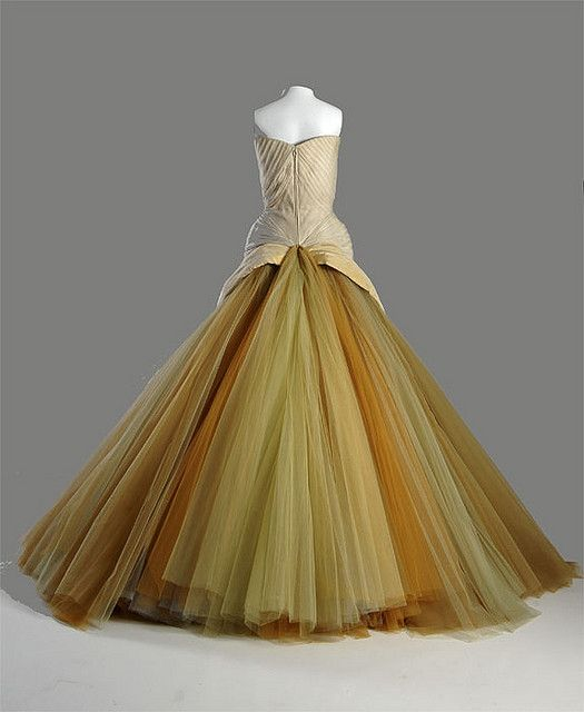 "Charles James ""Butterfly,"" back view    ICHi-63465    Only five examples of the Butterfly are known to exist. This version was made in 1954 for Mrs. John V. Farwell III of Chicago. Like most of James' patrons, she was deeply interested in the modern art this garment expresses."