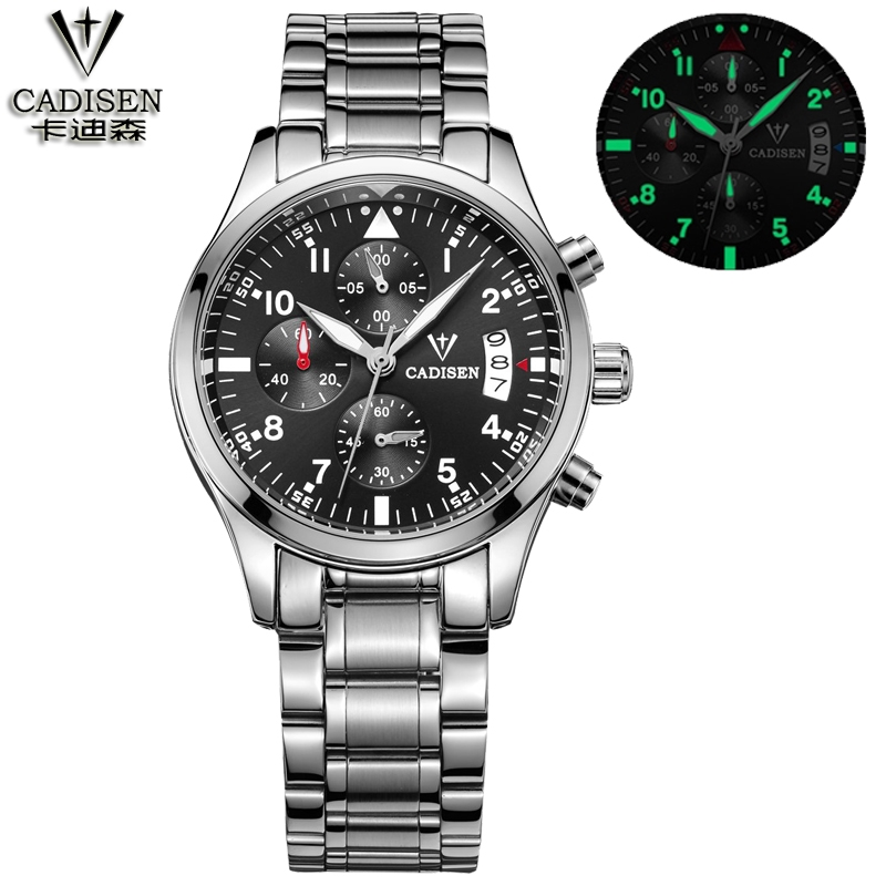 23.03$  Buy here - http://alizy2.shopchina.info/go.php?t=32761791093 - cadisen Business Watch Mens Hour Date Clock Luxury Brand Mens Watches Fashion Quartz military watch full steel leather starp 23.03$ #magazineonlinebeautiful
