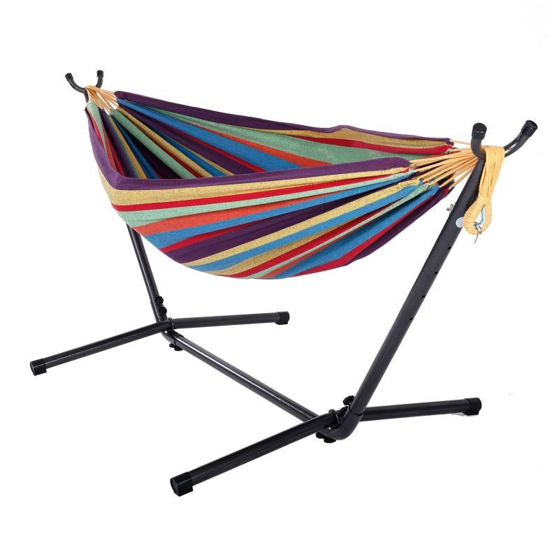 double hammock with space saving steel stand portable colorful double hammock with space saving steel stand portable colorful      rh   pinterest