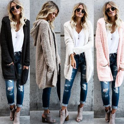 Women Ladies Sweater Cardigan Long Sleeve Jacket Hoodies Outwear Hooded Coat  in Clothing 7cad85e3b
