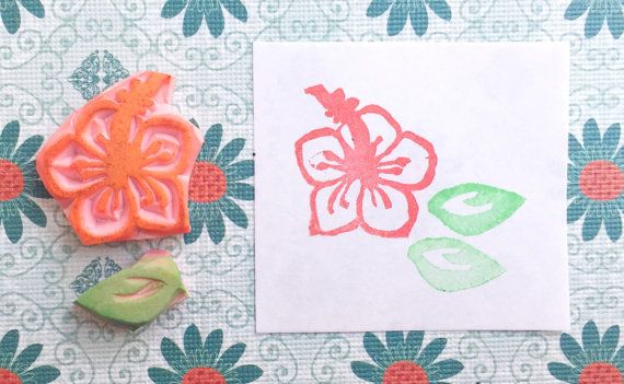 HIbiscus stamp, blossom stamp, hand carved stamp, handmade flower stamp, hand carved hibiscus stamp, plant stamp, blossom stamp