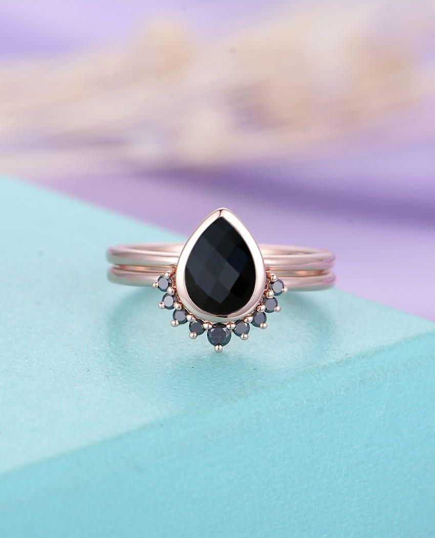 Black onyx engagement ring rose gold curved wedding band