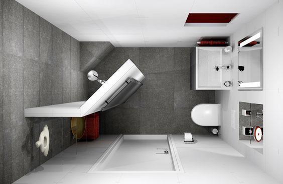 Kleine badkamer van 153x238cm met ingebouwde spiegelkast en ...