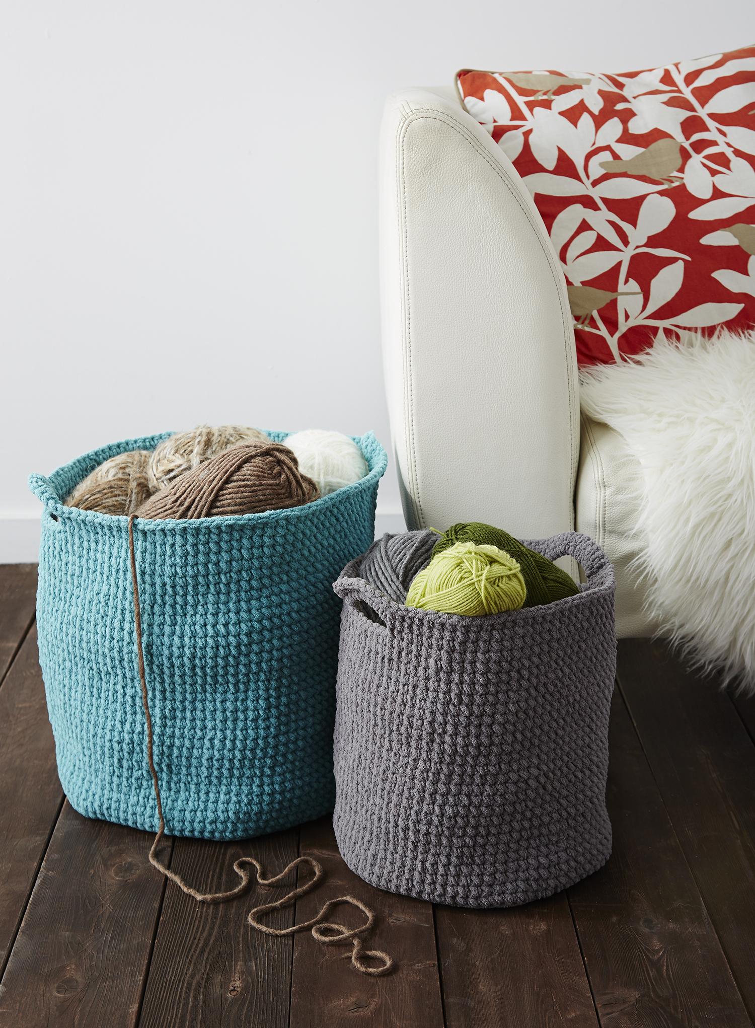 Bernat Blanket Stash Baskets | Knitting/Crochet | Pinterest