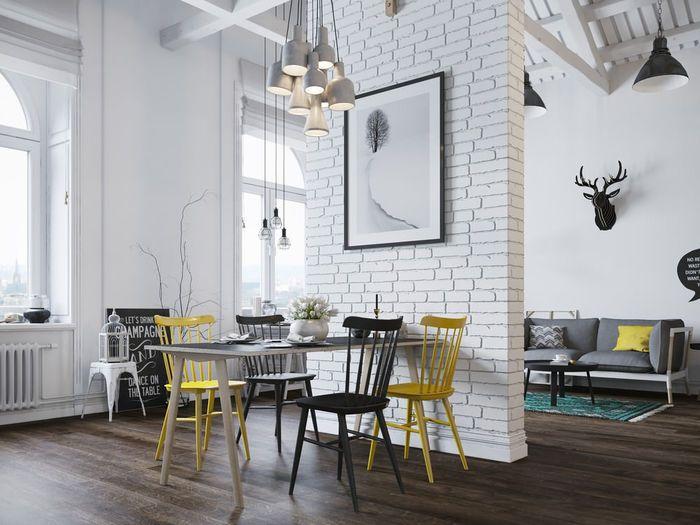 Белый кирпич в интерьере: 25 примеров | Дизайн столовой, Современный дизайн интерьера, Интерьеры с кирпичной стеной