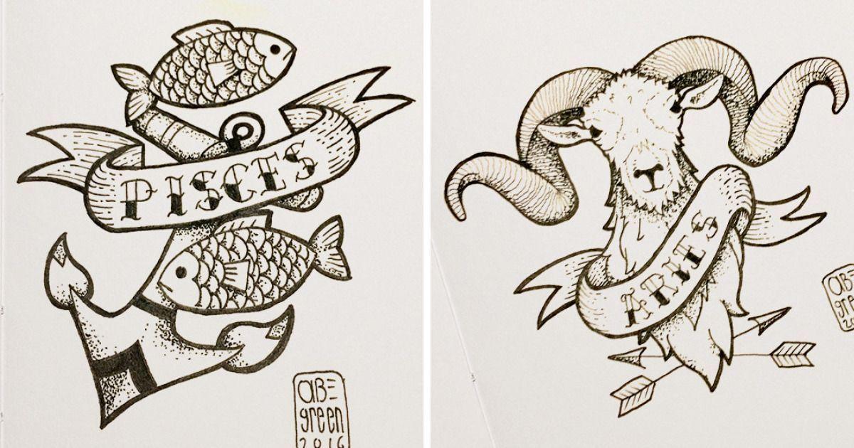 I Designed Old School Style Zodiac Tattoos | Bored Panda Zodiac tattoos Lower back tattoos Tattoos Irish tattoos Tribal tattoos Celtic tattoos Animal …