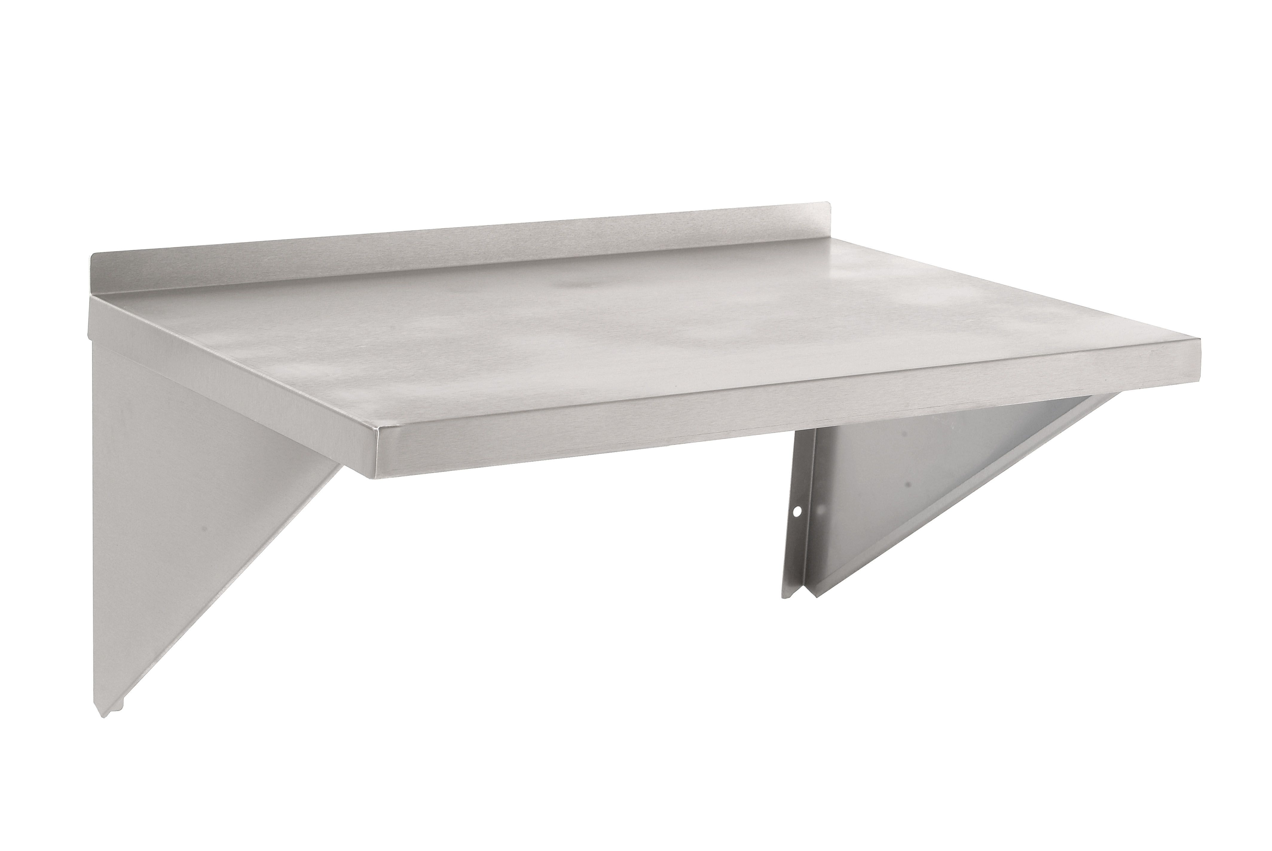Unique White Metal Floating Microwave Shelf With Simplistic Design For Free Standing Racks In Minimalist Kitchen