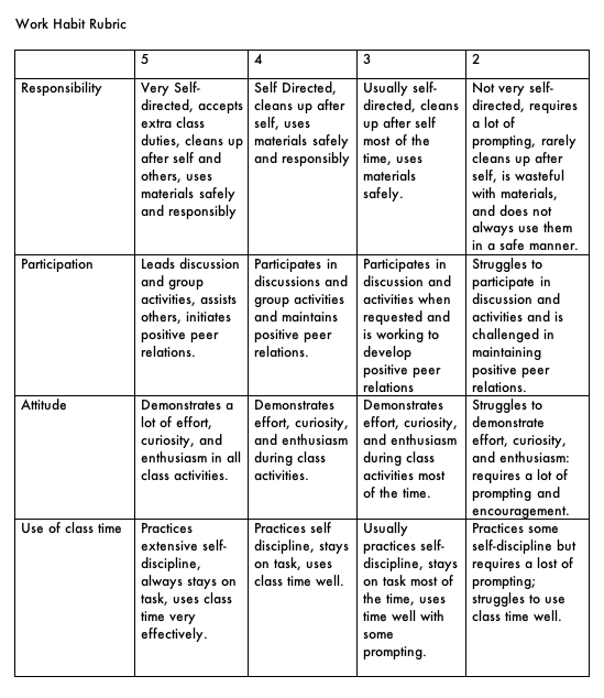 Grading and Performance Rubrics