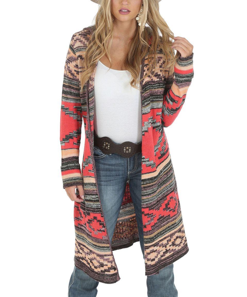 Wrangler Red & Gray Geometric Hooded Cardigan | Hooded cardigan ...