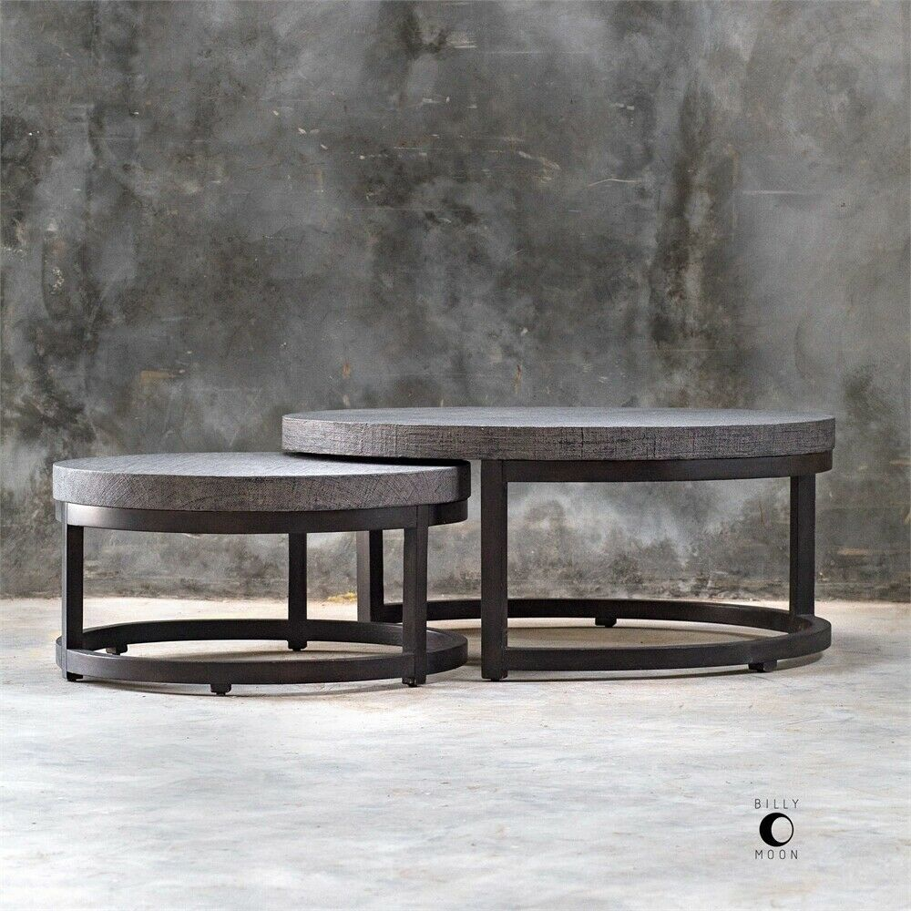 Modern Round Nesting Coffee Cocktail Table Set Gray Black Nesting Coffee Tables Coffee Table Coffee Table Design Modern [ 1000 x 1000 Pixel ]