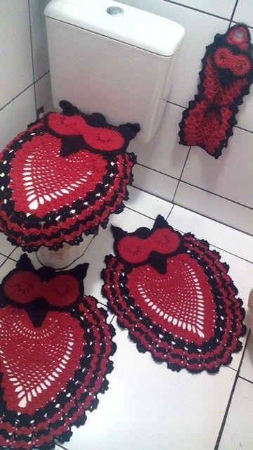 Vermelho E Preto Lindo Tapete De Coruja Jogos De Banheiro Croche Croche Da Lu